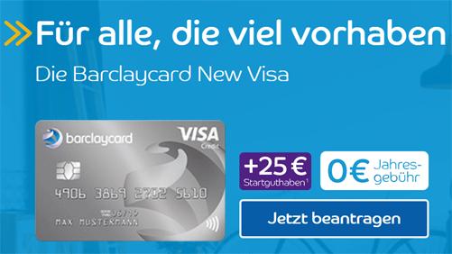 Barclaycard: Gratis-Kreditkarte mit 25 Euro Bonus