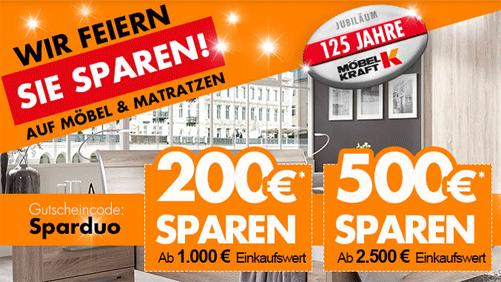 Mit dem MÖBEL KRAFT Gutschein ganze 500 Euro sparen