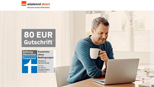 Kostenloses Girokonto bei Wüstenrot mit 80 Euro Bonus